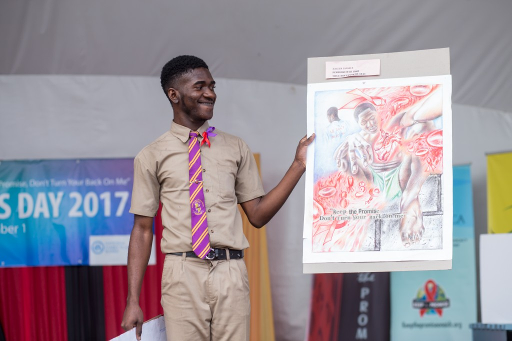 Haleem Lazarus shows off artwork